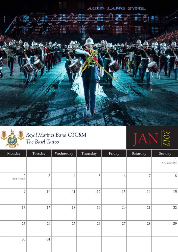 The Royal Marines Band Service Current Day Calendar 2017