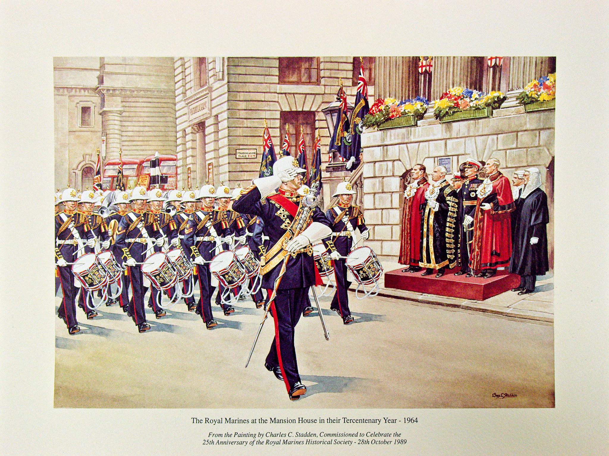 Print of painting by Charles Staden, commissioned to celebrate the 25th Anniversary of the Royal Marines Historical Society - 28th October 1989