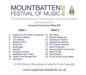 Mountbatten Festival of Music 2018 CD Track Listing