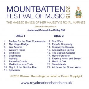 Mountbatten Festival of Music 2018 CD Track Listing